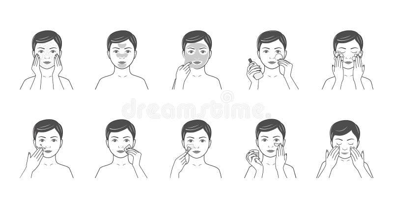 Instructies voor gezichtszorg: voeding, het bevochtigen, het stemmen, c royalty-vrije illustratie