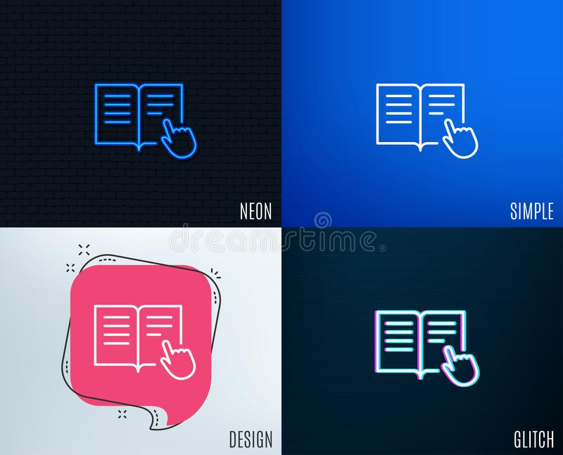 Instruction Book line icon. Education symbol. Glitch, Neon effect. Instruction Book line icon. Education with hand pointer symbol. E-learning sign. Trendy flat royalty free illustration