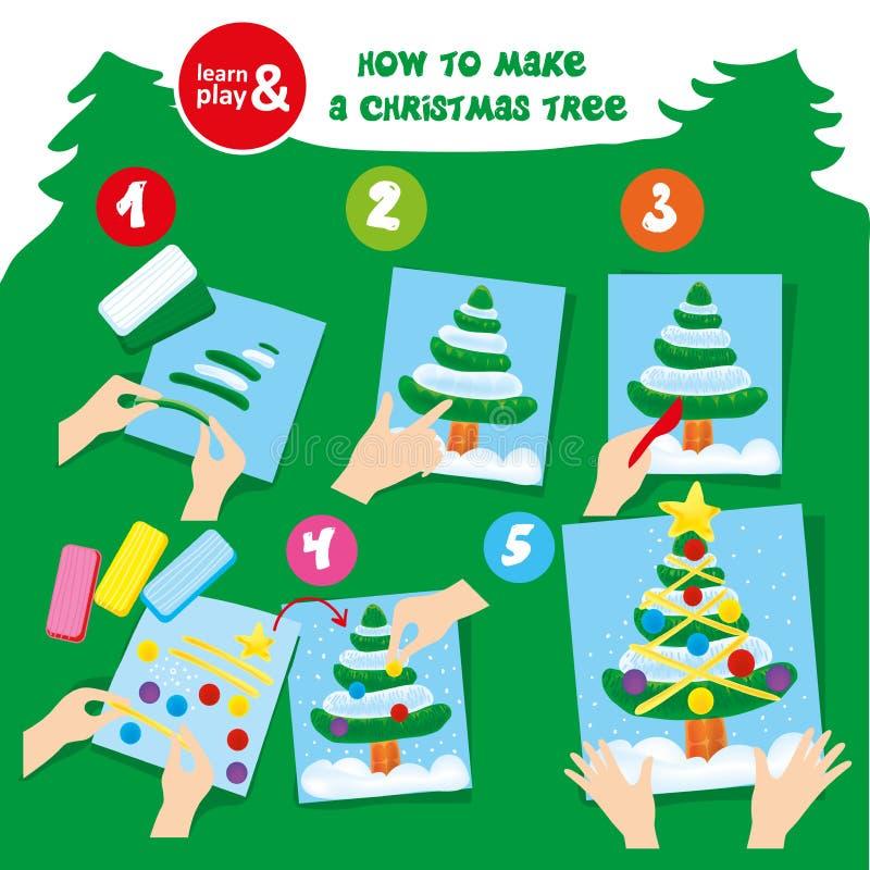 Instruction d'étape d'arbre de Noël de pâte à modeler pour l'enfant illustration stock