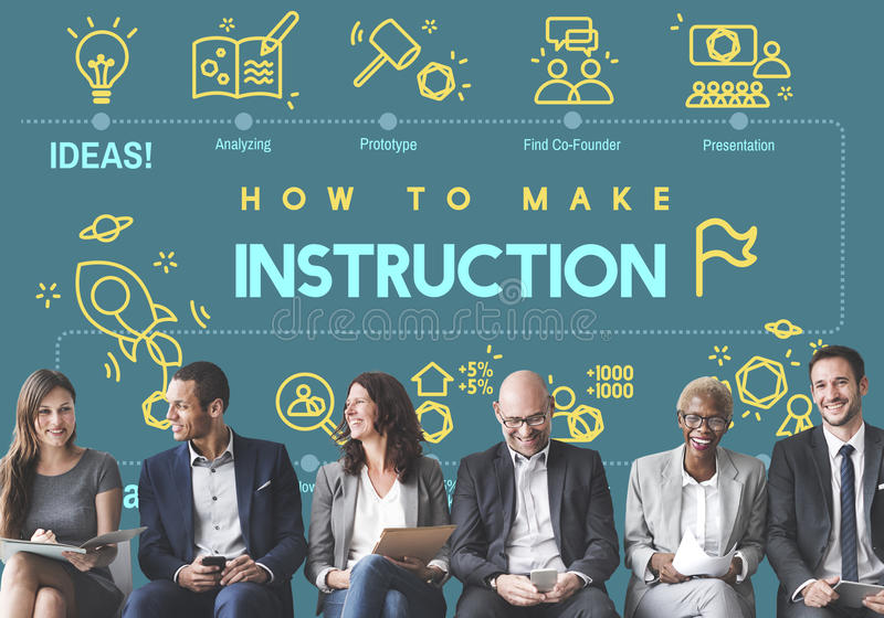 Instruction Document Guidebook Handbook Help Concept. Diverse business people sitting with how to make instruction word graphic background stock image