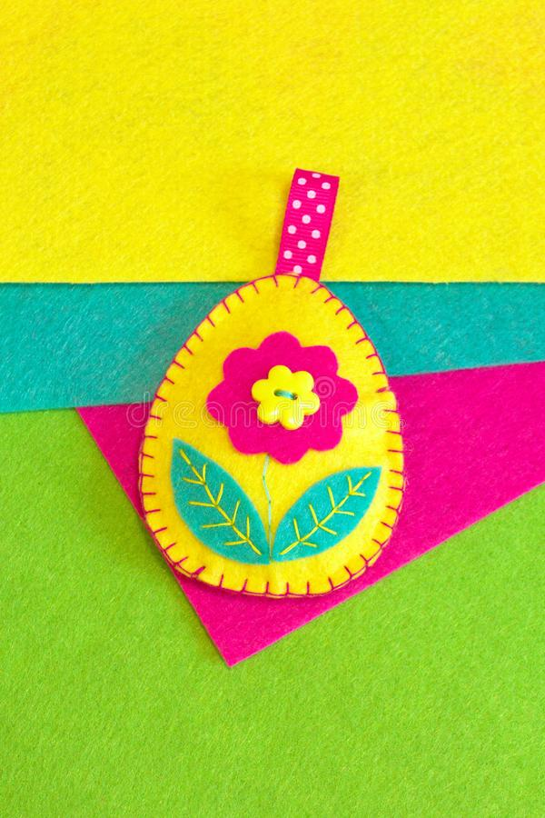 Felt Easter egg decoration crafts. How to make handmade Easter decoration stock images