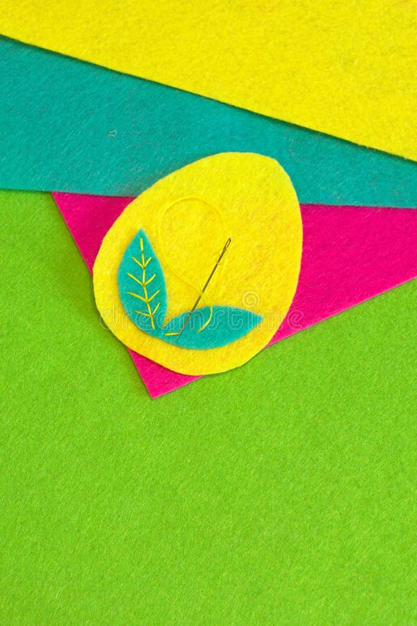 Felt Easter egg decoration crafts. How to make handmade Easter decor. Step stock photography