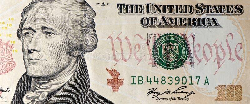 Instruction-macro de billet de dix dollars photographie stock libre de droits