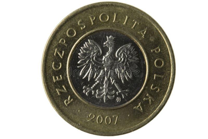 Instruction-macro de pièce de monnaie de zloty du polonais 2 images libres de droits
