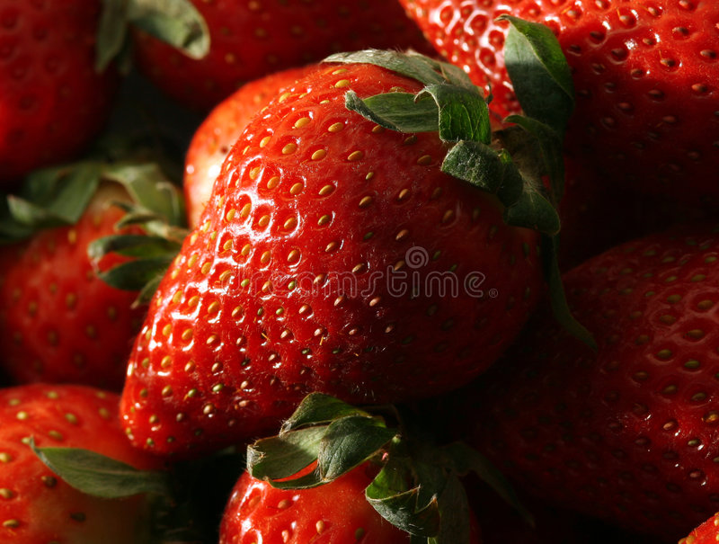 Instruction-macro des fraises images stock