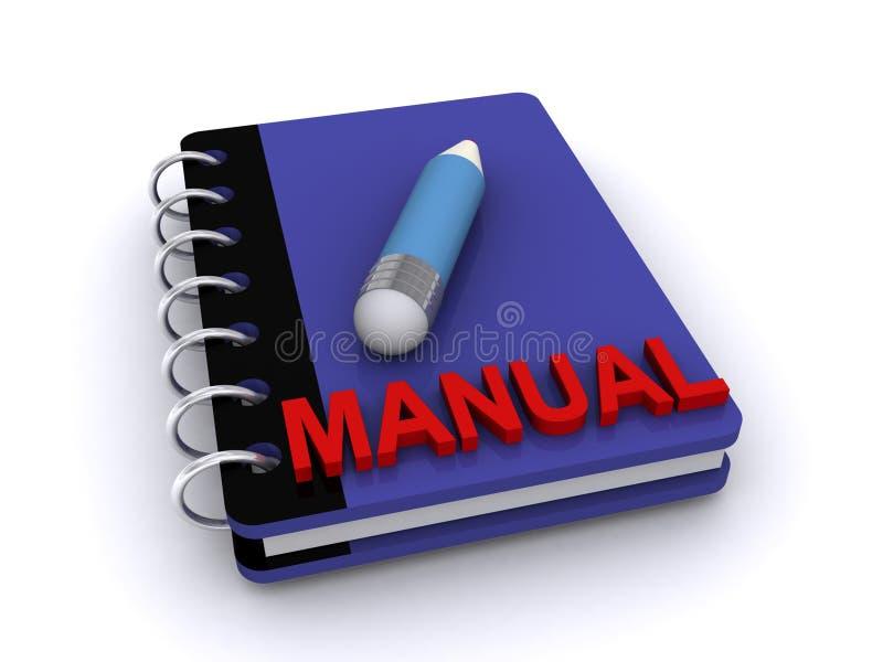 Instruction manual. 3d illustration of pencil on instruction manual, white background stock illustration