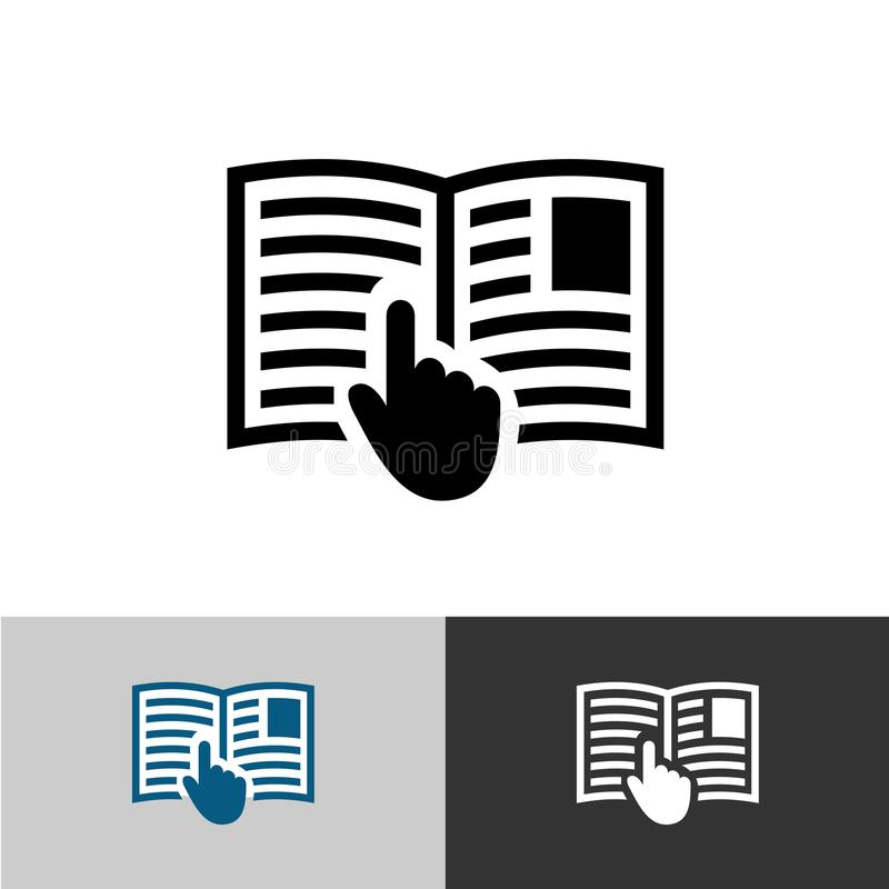 Instruction manual icon. Open book pages with text. Instruction manual icon. Open book pages with text, images and hand pointer cursor symbol royalty free illustration