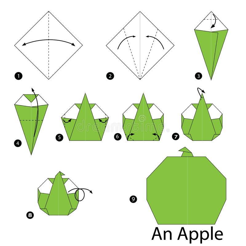 Instructions étape-par-étape comment faire à origami Apple illustration stock