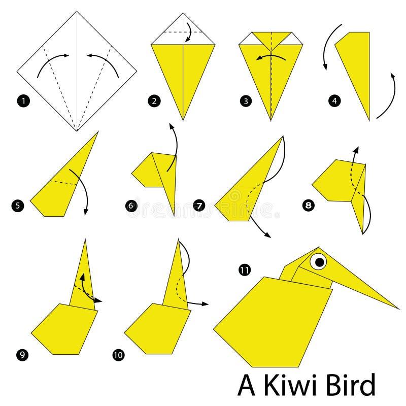 Instructions étape-par-étape comment faire à origami Kiwi Bird illustration de vecteur