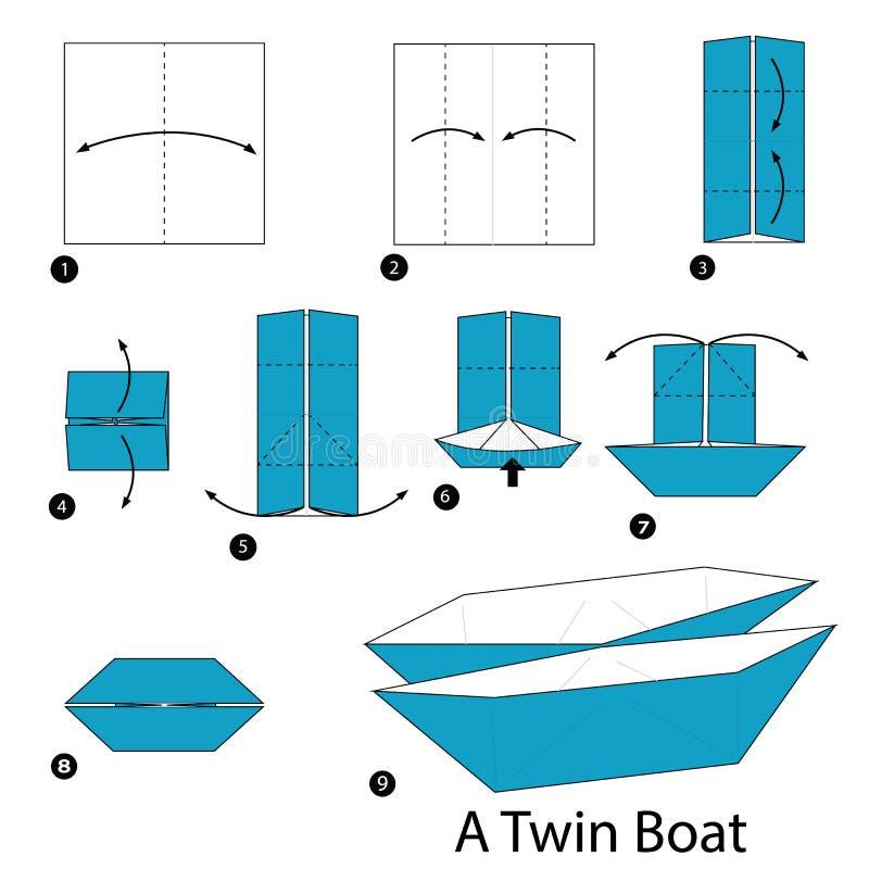 Instructions étape-par-étape comment faire à origami un bateau jumeau illustration de vecteur