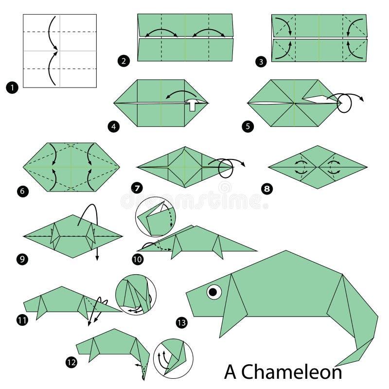 Instructions étape-par-étape comment faire à origami un caméléon illustration libre de droits