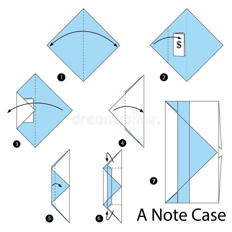 Instructions étape-par-étape comment faire à origami un cas de note illustration libre de droits
