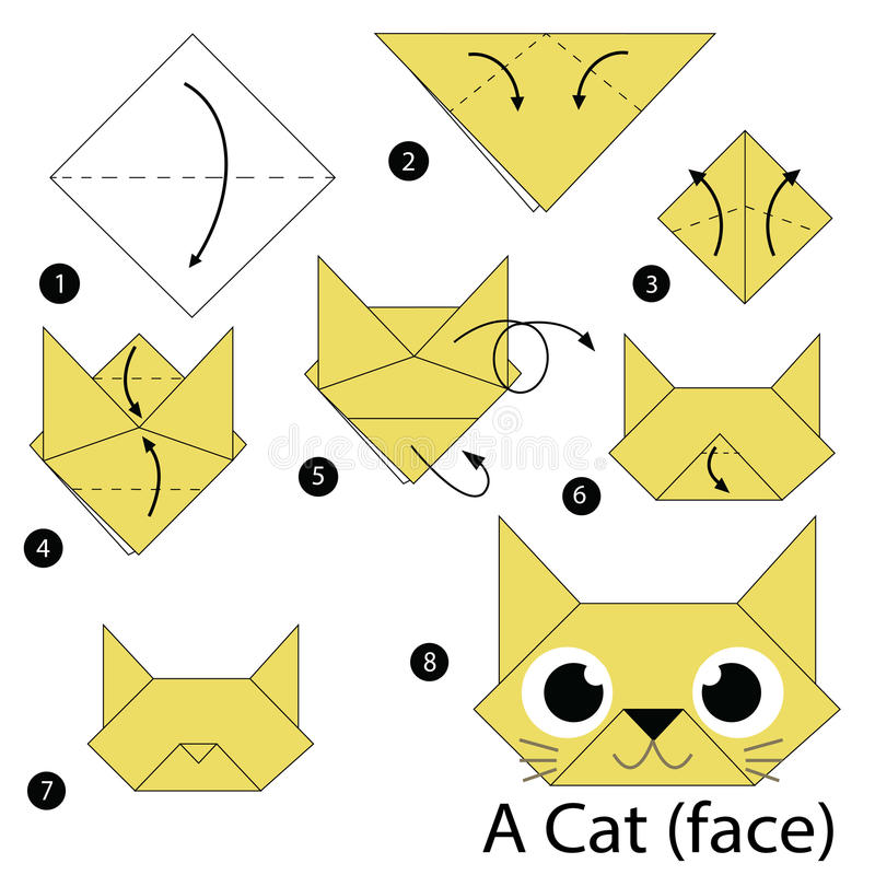 Instructions tape par tape comment faire origami un chat illustration de vecteur - Origami chat facile ...