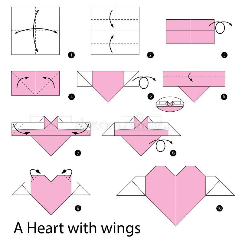 instructions étape-par-étape comment faire à origami un coeur avec
