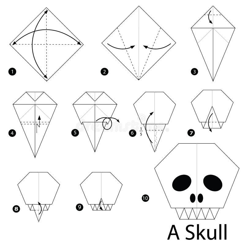 Instructions étape-par-étape comment faire à origami un crâne illustration stock