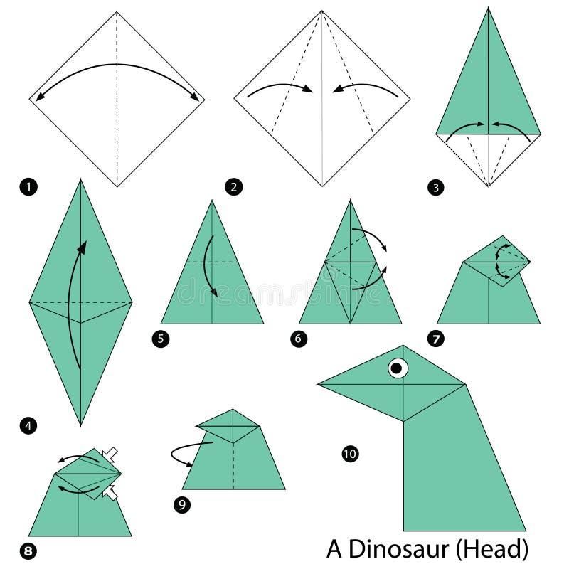 Instructions étape-par-étape comment faire à origami un dinosaure (chef) illustration stock