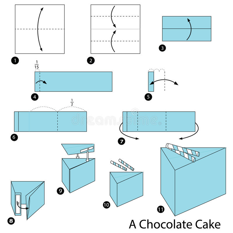 instructions étape-par-étape comment faire à origami un gâteau de chocolat illustration stock