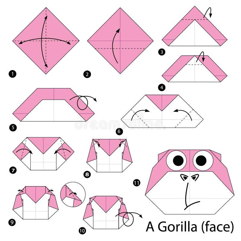 Instructions étape-par-étape comment faire à origami un gorille illustration stock