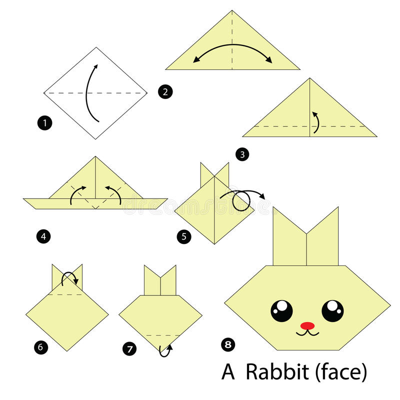 Instructions tape par tape comment faire origami un lapin illustration de vecteur - Origami lapin facile ...