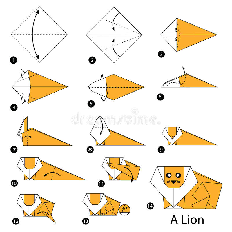 Instructions étape-par-étape comment faire à origami un lion illustration de vecteur