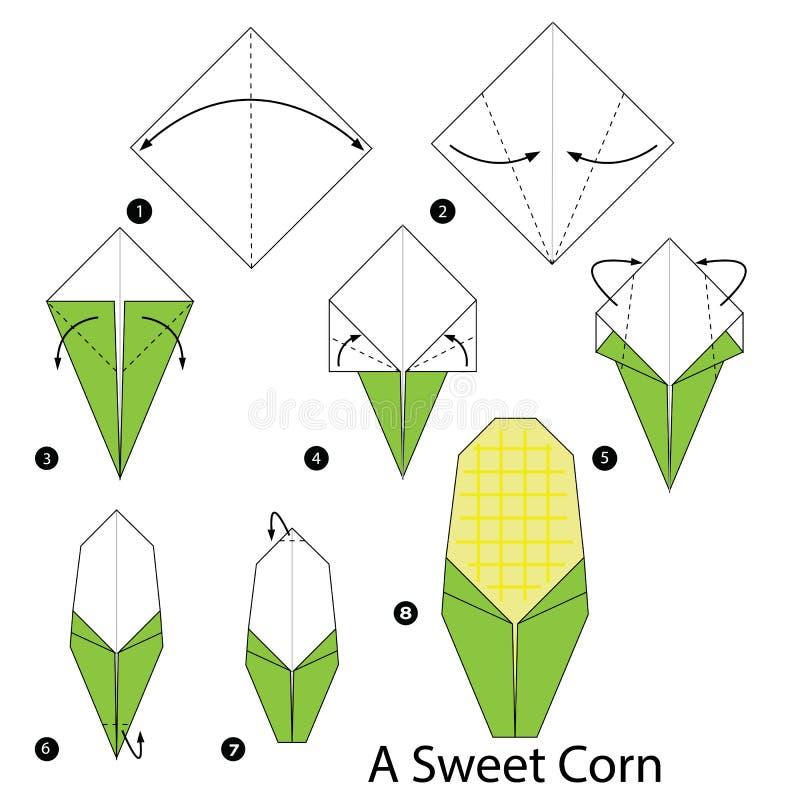 Instructions étape-par-étape comment faire à origami un maïs illustration libre de droits