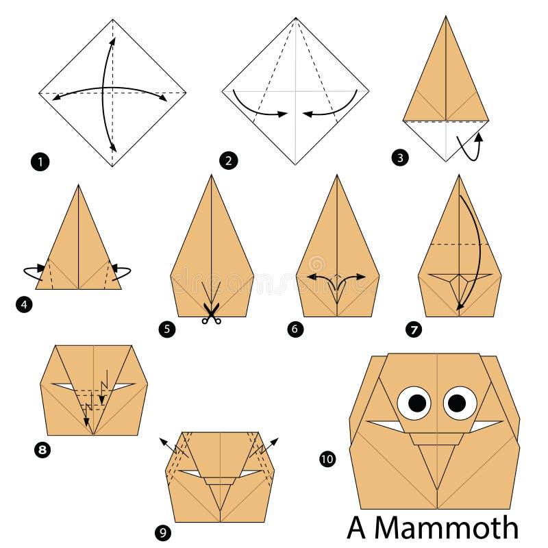 Instructions étape-par-étape comment faire à origami un mammouth illustration de vecteur