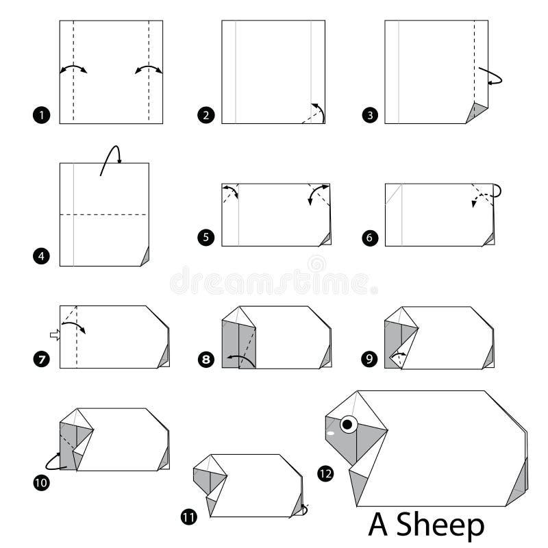 Instructions étape-par-étape comment faire à origami un mouton illustration libre de droits