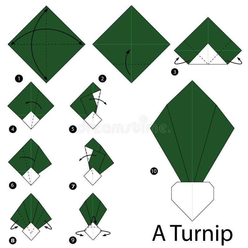 Instructions étape-par-étape comment faire à origami un navet illustration de vecteur
