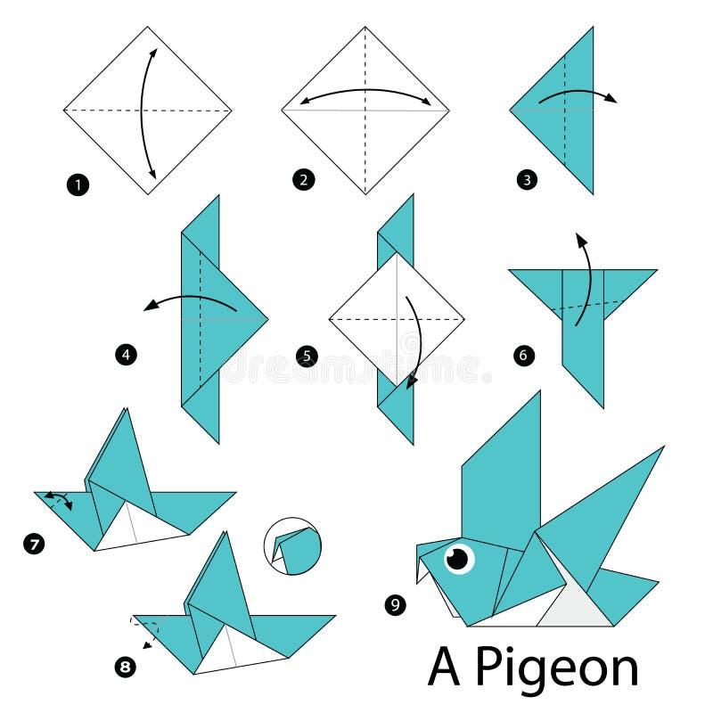 instructions tape par tape comment faire origami un oiseau illustration de vecteur. Black Bedroom Furniture Sets. Home Design Ideas