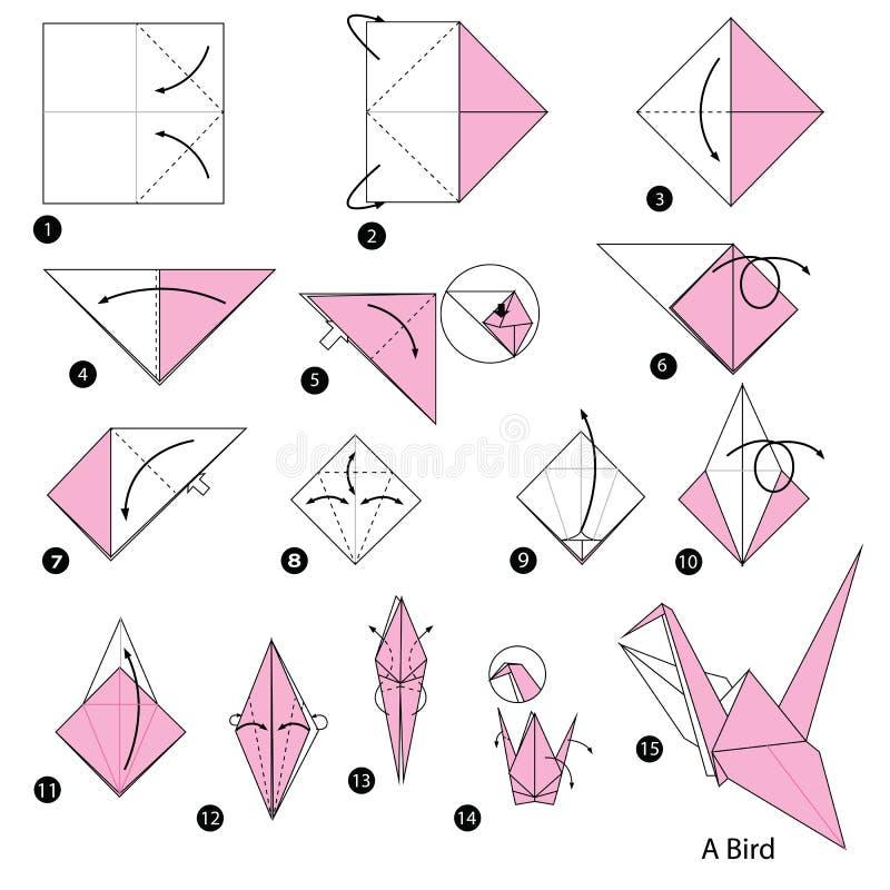 Instructions étape-par-étape comment faire à origami un oiseau illustration de vecteur