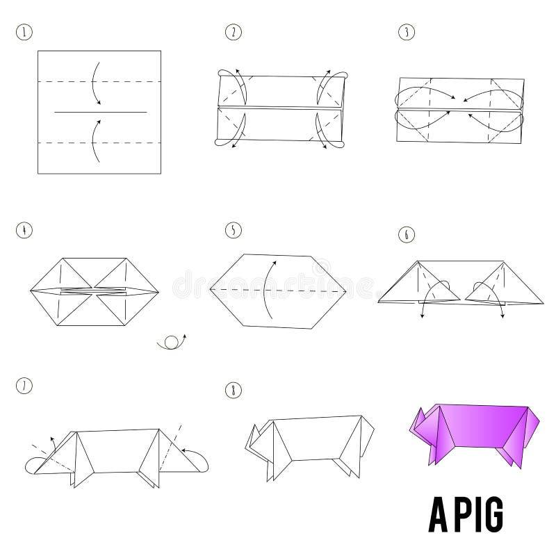 Instructions étape-par-étape comment faire à origami un oiseau illustration libre de droits