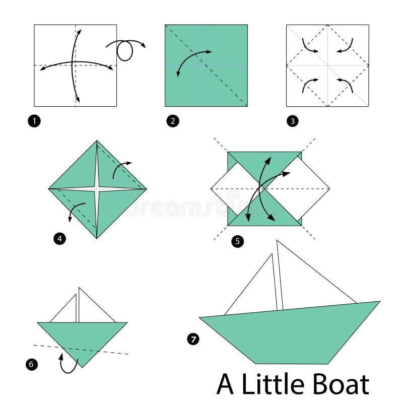 Instructions étape-par-étape comment faire à origami un petit bateau illustration de vecteur