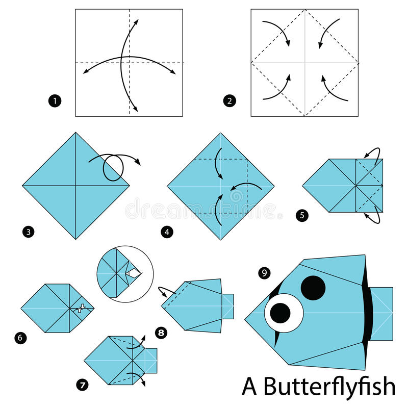 instructions tape par tape comment faire origami un poisson de papillon illustration de. Black Bedroom Furniture Sets. Home Design Ideas