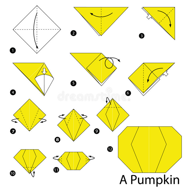 Instructions étape-par-étape comment faire à origami un potiron illustration stock