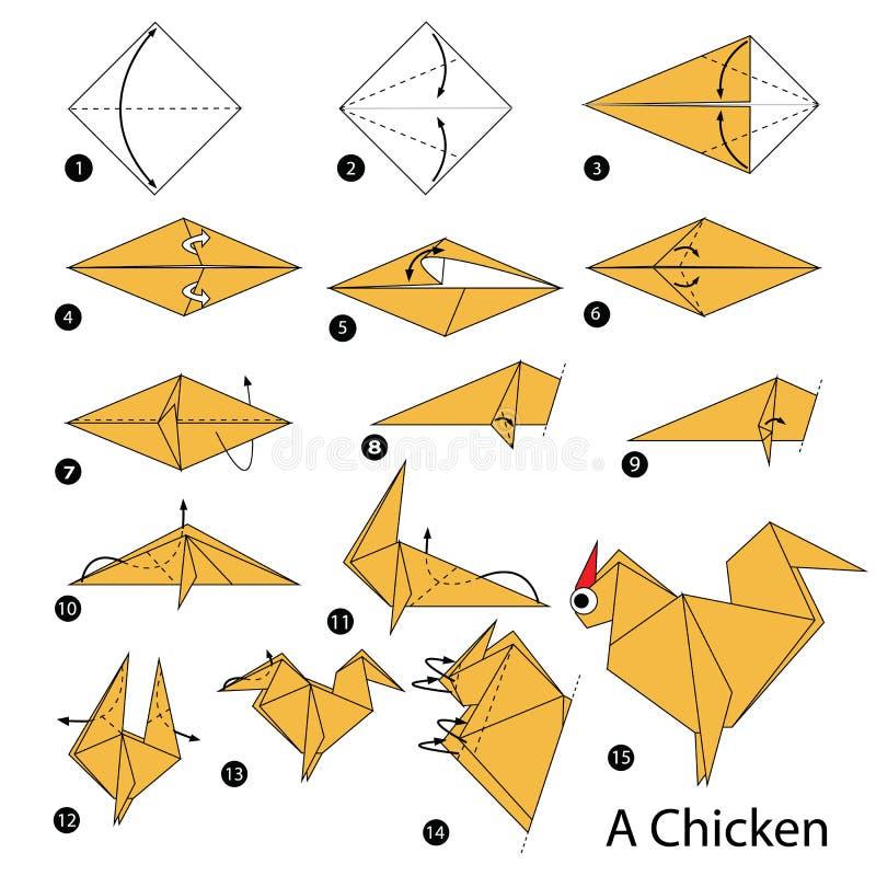 Instructions étape-par-étape comment faire à origami un poulet illustration de vecteur