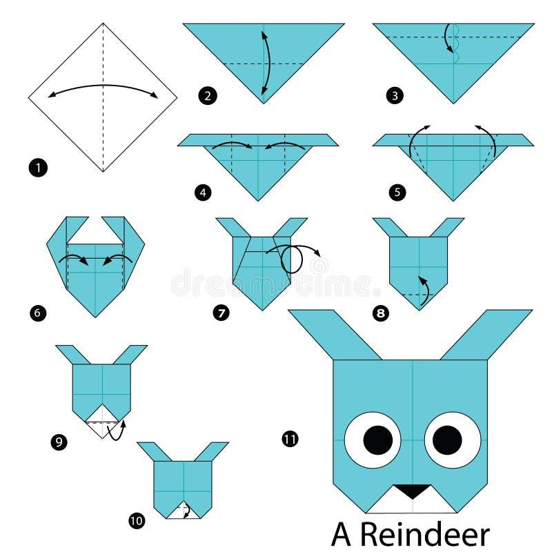 Instructions étape-par-étape comment faire à origami un renne illustration de vecteur