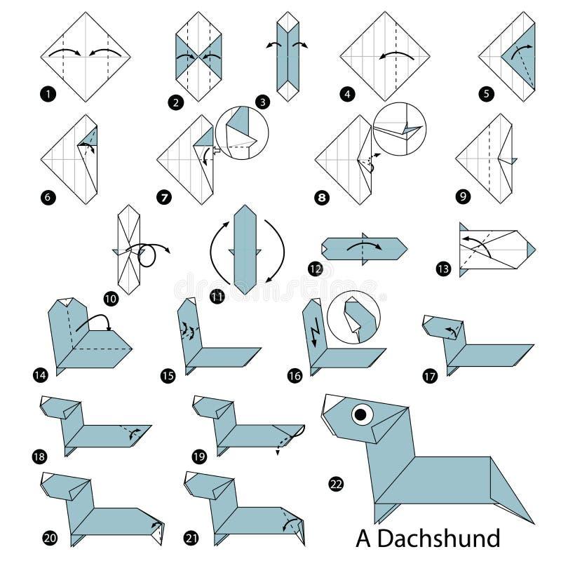 instructions étape-par-étape comment faire à origami un teckel illustration stock