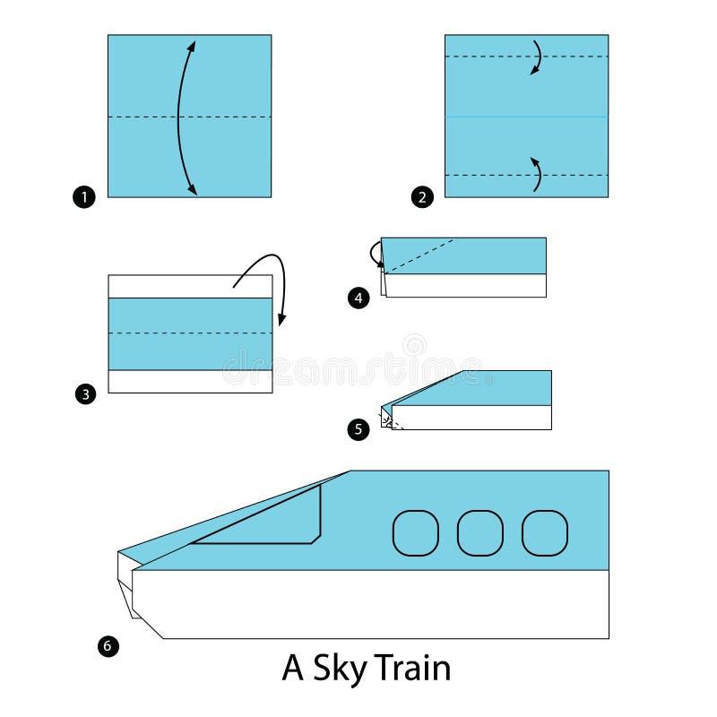 Instructions étape-par-étape comment faire à origami un train de ciel illustration de vecteur