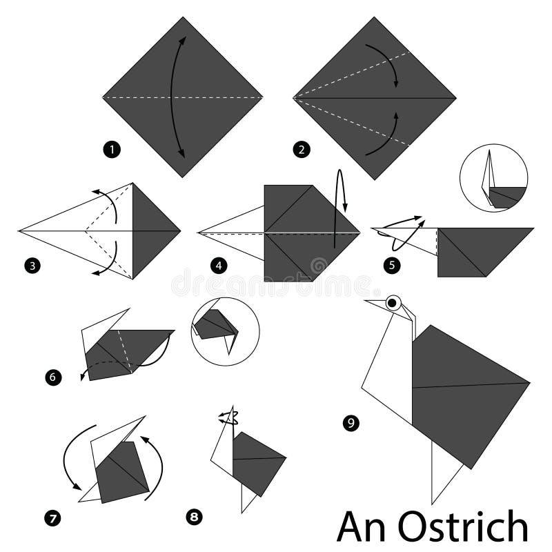 Instructions étape-par-étape comment faire à origami une autruche illustration stock