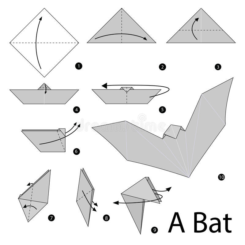 Instructions étape-par-étape comment faire à origami une batte illustration libre de droits