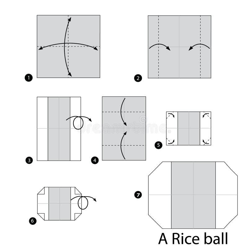 Instructions étape-par-étape comment faire à origami une boule de riz illustration libre de droits
