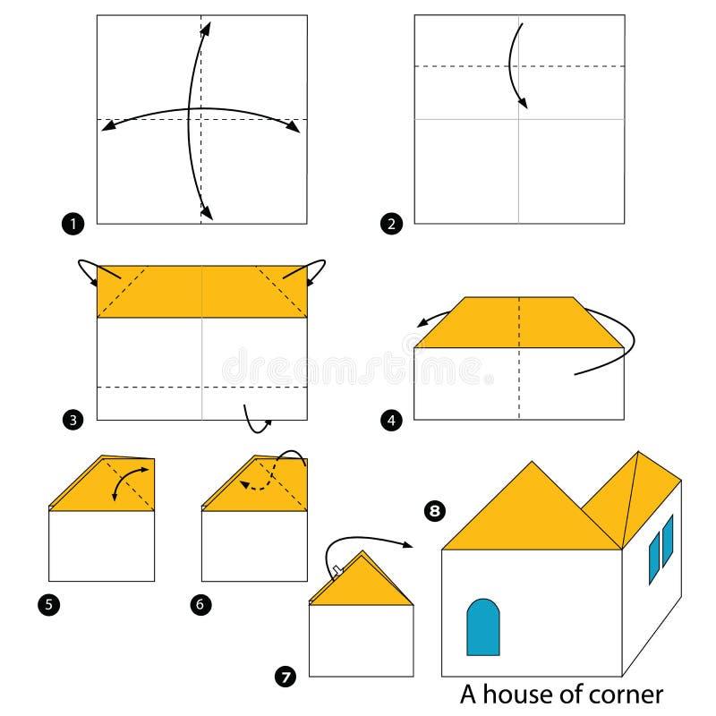 Instructions étape-par-étape comment faire à origami une Chambre du coin illustration de vecteur