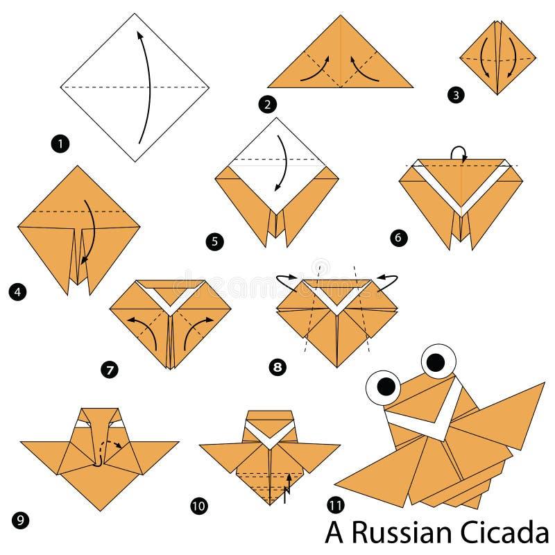 Instructions étape-par-étape comment faire à origami une cigale russe illustration stock