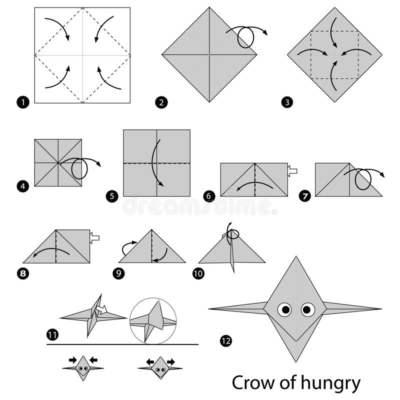 Instructions étape-par-étape comment faire à origami une corneille d'affamé illustration stock