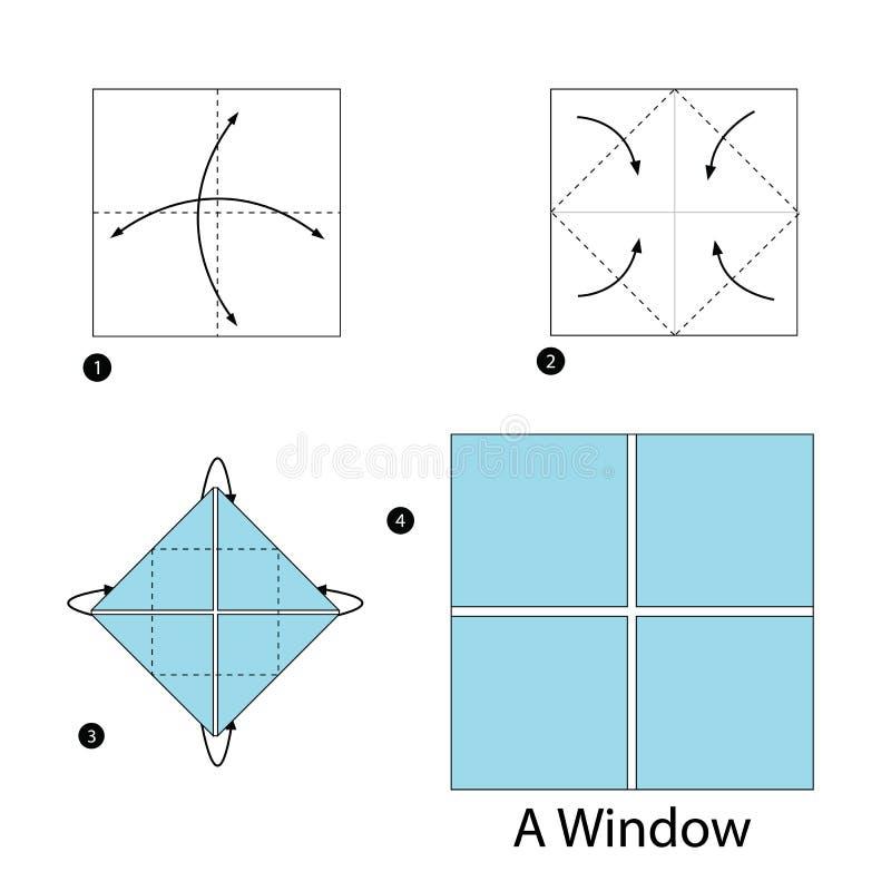 Instructions étape-par-étape comment faire à origami une fenêtre illustration libre de droits