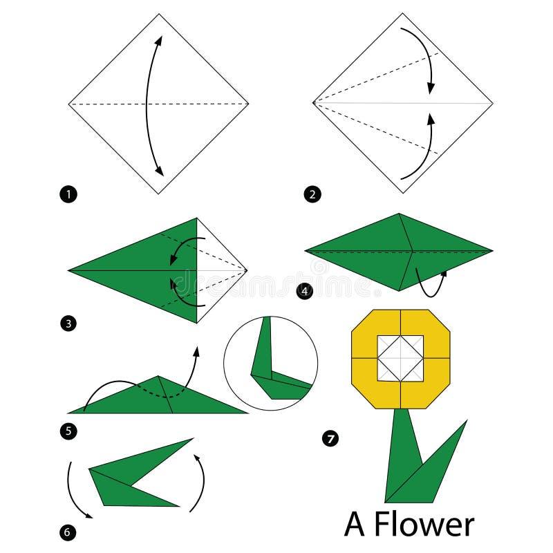 Instructions étape-par-étape comment faire à origami une fleur illustration stock