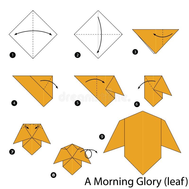 Instructions étape-par-étape comment faire à origami une gloire de matin illustration libre de droits