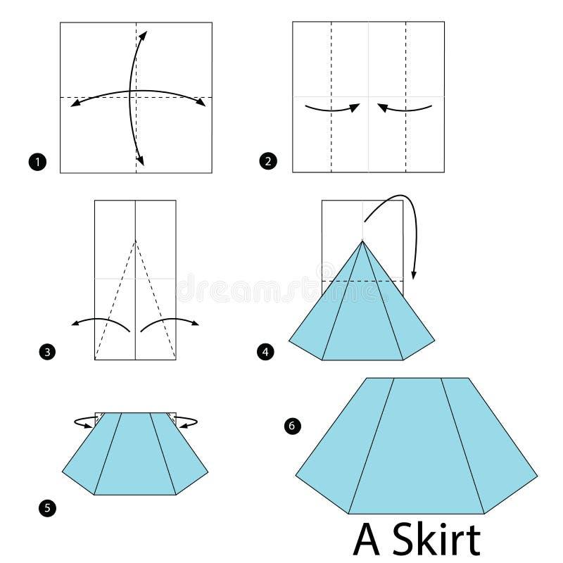 Instructions étape-par-étape comment faire à origami une jupe illustration stock