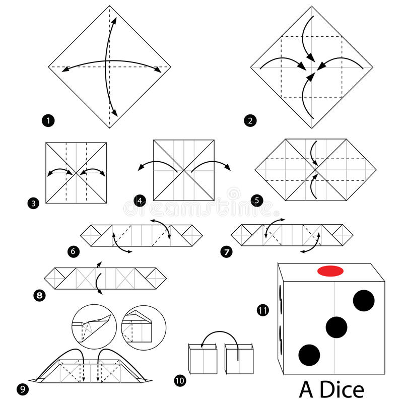 Instructions étape-par-étape comment faire à origami une matrice illustration libre de droits
