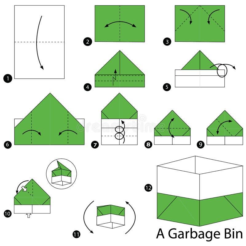 Instructions étape-par-étape comment faire à origami une poubelle de déchets illustration de vecteur